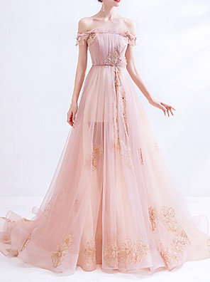 cheap Evening Dresses-A-Line Luxurious Pink Engagement Formal Evening Dress Off Shoulder Sleeveless Court Train Polyester with Sequin Embroidery 2020