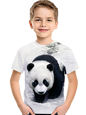 cheap Boys' Tops-Kids Toddler Boys' Active Basic Cat Panda Fantastic Beasts Color Block 3D Animal Print Short Sleeve Tee White