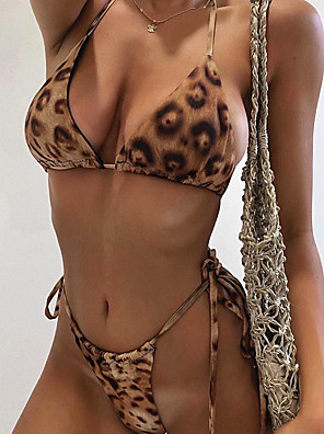 cheap Bikinis-Women's Sporty Basic Bikini Swimsuit Print Leopard Swimwear Bathing Suits Brown
