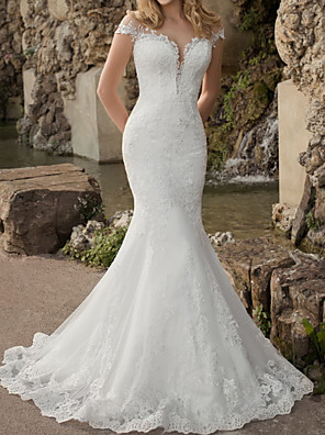 cheap Wedding Dresses-Mermaid / Trumpet Wedding Dresses Jewel Neck Sweep / Brush Train Lace Tulle Short Sleeve Country See-Through Plus Size with Lace Appliques 2020