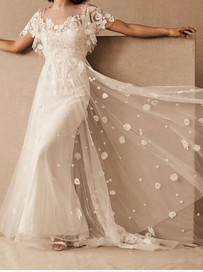 cheap Wedding Dresses-A-Line Wedding Dresses Scoop Neck Floor Length Tulle Short Sleeve Country Plus Size with Embroidery 2020