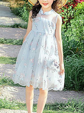 cheap Girls' Dresses-Kids Girls' Cute Chinoiserie Floral Patchwork Embroidered Patchwork Sleeveless Dress Beige