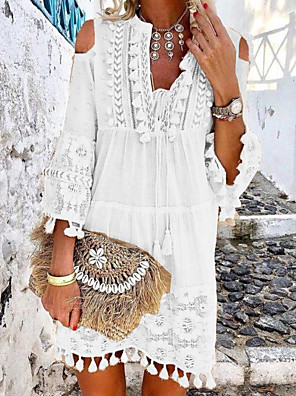 cheap Mini Dresses-Women's Mini Shift Dress - 3/4 Length Sleeve Lace Tassel Fringe Cold Shoulder Summer Deep V Casual Boho Holiday Vacation Beach 2020 White Blue Yellow Blushing Pink Beige S M L XL XXL XXXL