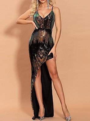 cheap Evening Dresses-Sheath / Column Sparkle Black Party Wear Prom Dress Spaghetti Strap Sleeveless Floor Length Polyester with Sequin Split 2020