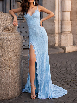 cheap Evening Dresses-Sheath / Column Sexy Blue Party Wear Formal Evening Dress Spaghetti Strap Sleeveless Sweep / Brush Train Lace with Split Appliques 2020