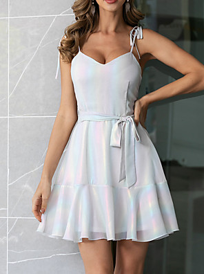 cheap Print Dresses-Womens Sliver Frill Daily Dress Strap with Belt  MM0685