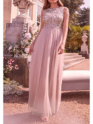 cheap Bridesmaid Dresses-A-Line Jewel Neck Floor Length Tulle Bridesmaid Dress with Sequin / Ruching