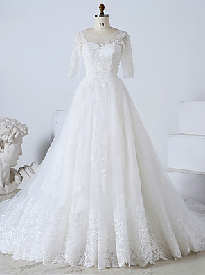 cheap Prom Dresses-Ball Gown Wedding Dresses Jewel Neck Watteau Train Tulle Lace Over Satin Half Sleeve Formal Plus Size Elegant with Beading Lace Insert Appliques 2020 / Illusion Sleeve