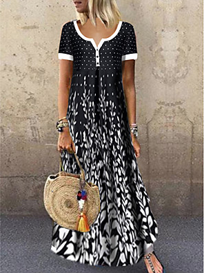 cheap Maxi Dresses-Women's Maxi Black & White Dress - Short Sleeves Leaf Print Summer Casual Holiday Vacation High Waist 2020 Black M L XL XXL XXXL