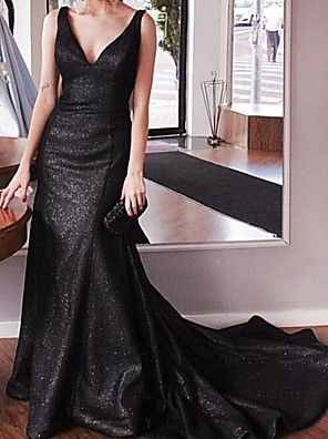 cheap Evening Dresses-Mermaid / Trumpet Sparkle Black Engagement Formal Evening Dress V Neck Sleeveless Court Train Sequined with Sequin 2020