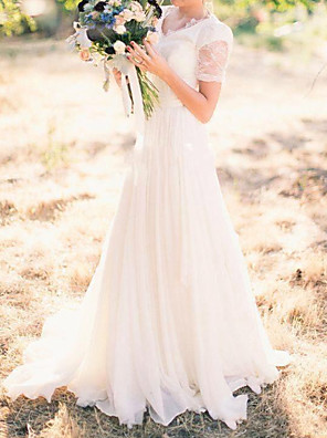 cheap Prom Dresses-A-Line Wedding Dresses V Neck Sweep / Brush Train Chiffon Lace Taffeta Cap Sleeve Country Plus Size with Lace 2020