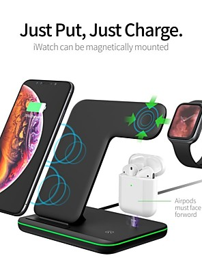 cheap Wireless Chargers-Fast Charger / 3 in 1 Wireless Chargers / Wireless Charger LED Lights / with Cable / Multi-Output Fast Charger ROHS