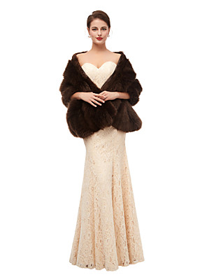 cheap Wedding Dresses-Sleeveless Shawls Faux Fur Party / Evening Shawl & Wrap / Women's Wrap With Button