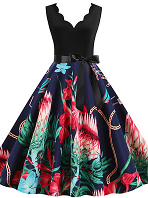 cheap Party Dresses-Women's Sheath Dress - Sleeveless Floral Print Print Deep V Street chic Daily Going out Red Orange Green Navy Blue S M L XL XXL XXXL