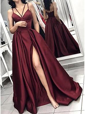 cheap Evening Dresses-A-Line Minimalist Red Party Wear Prom Dress Halter Neck Sleeveless Sweep / Brush Train Satin with Pleats Split 2020