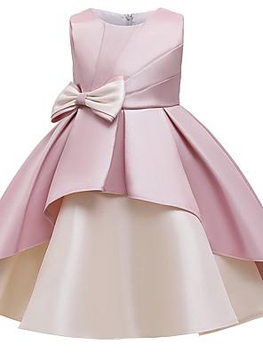 cheap Girls' Dresses-Kids Girls' Cute Butterfly Color Block Bow Patchwork Sleeveless Knee-length Dress Wine