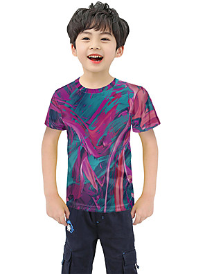 cheap Boys' Tops-Kids Boys' Active Street chic Geometric 3D Patchwork Pleated Print Short Sleeve Blouse Rainbow