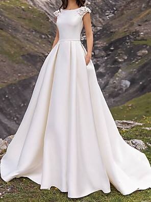 cheap Wedding Dresses-A-Line Wedding Dresses Jewel Neck Sweep / Brush Train Satin Cap Sleeve Country Plus Size with Appliques Side-Draped 2020