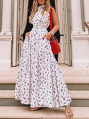 cheap Maxi Dresses-Women's Maxi Sheath Dress - Sleeveless Print Shirt Collar White S M L XL