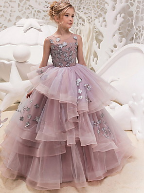 cheap Girls' Dresses-Ball Gown Floor Length Formal Evening / Pageant Flower Girl Dresses - Polyester Sleeveless Jewel Neck with Lace / Appliques