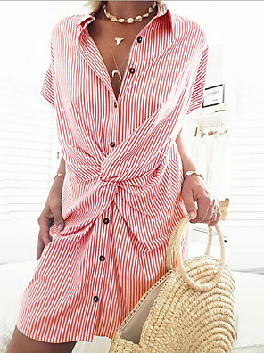 cheap Summer Dresses-Women's Shift Dress Short Mini Dress - Short Sleeves Striped Shirt Collar Black Red Orange Green Navy Blue Light Blue S M L XL / Cotton