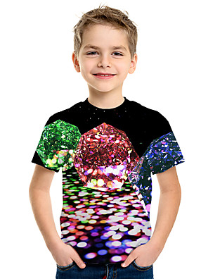 cheap Boys' Tops-Kids Boys' Active Street chic 3D Print Short Sleeve Tee Rainbow