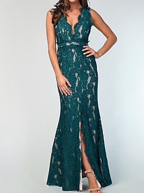 cheap Bridesmaid Dresses-Mermaid / Trumpet Plunging Neck Floor Length Lace / Shantung / Stretch Satin Bridesmaid Dress with Lace