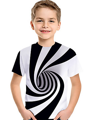 cheap Boys' Tops-Kids Toddler Boys' Active Basic Black & White Rubik's Cube Geometric Color Block 3D Print Short Sleeve Tee White
