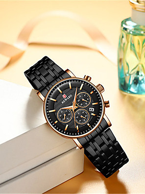 cheap Women's T-shirts-Women's Steel Band Watches Quartz Luxury Water Resistant / Waterproof Stainless Steel Analog - Rose Gold Black Green One Year Battery Life / Japanese / Calendar / date / day / Chronograph / Japanese