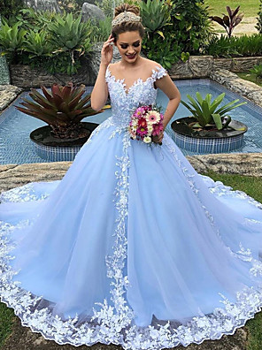 cheap Evening Dresses-Ball Gown Wedding Dresses V Neck Court Train Lace Polyester Cap Sleeve Country Plus Size with Appliques 2020