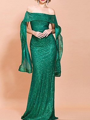 cheap Prom Dresses-Mermaid / Trumpet Elegant Sparkle Prom Formal Evening Dress Off Shoulder Long Sleeve Floor Length Polyester with Sequin 2020