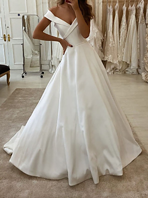 cheap Wedding Dresses-A-Line Wedding Dresses V Neck Sweep / Brush Train Polyester Short Sleeve Country Plus Size with Side-Draped 2020