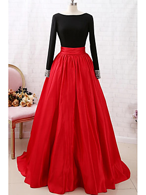 cheap Evening Dresses-A-Line Color Block Red Party Wear Prom Dress Jewel Neck Long Sleeve Court Train Satin with Pleats 2020