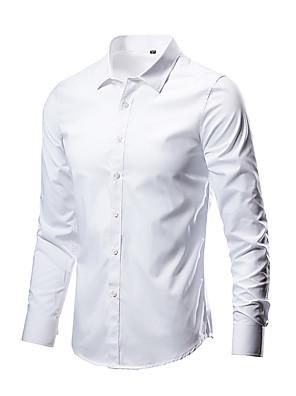 abordables Camisas de Hombre-Hombre Un Color Camisa Básico Diario Wine / Blanco / Negro / Morado / Verde Ejército / Fucsia / Azul Real / Gris Claro
