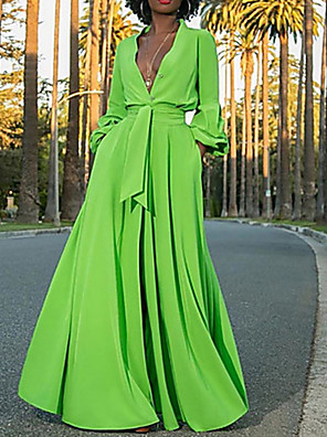 cheap Evening Dresses-Women's Maxi A Line Dress - Long Sleeve Solid Colored Deep V Street chic Green S M L XL XXL