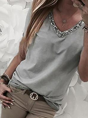 cheap Women's T-shirts-Women's T-shirt Color Block Patchwork Print Loose Tops V Neck Wine Black Blue / Short Sleeve