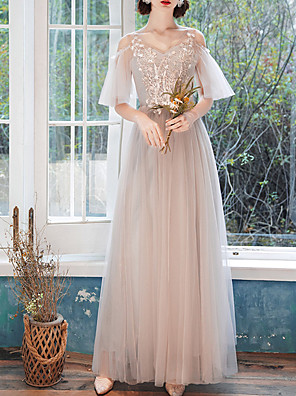 cheap Prom Dresses-A-Line V Neck Floor Length Tulle Bridesmaid Dress with Appliques / Illusion Sleeve / Open Back