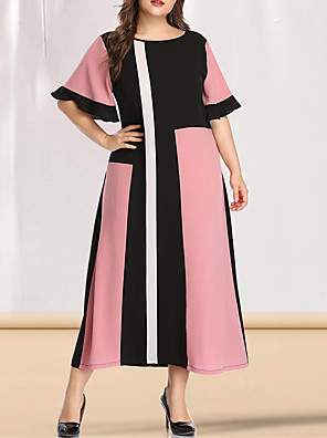 cheap Plus Size Dresses-Women's Plus Size Maxi A Line Dress - Short Sleeves Color Block Solid Color Patchwork Spring & Summer Casual Elegant Party Going out Flare Cuff Sleeve Blushing Pink L XL XXL