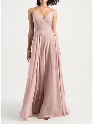 cheap Bridesmaid Dresses-Sheath / Column V Neck Floor Length Chiffon Bridesmaid Dress with Pleats / Open Back