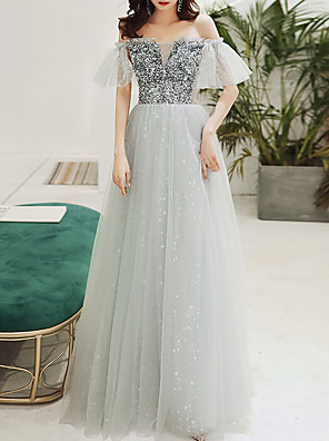 cheap Evening Dresses-A-Line Sparkle Grey Engagement Formal Evening Dress Off Shoulder Short Sleeve Floor Length Tulle with Sequin 2020