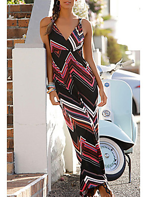 cheap Women's Dresses-Women's Maxi Sheath Dress - Sleeveless Print V Neck Slim Black S M L XL XXL