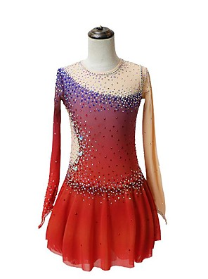 cheap Ice Skating Dresses , Pants & Jackets-Figure Skating Dress Women's Girls' Ice Skating Dress Red Patchwork Asymmetric Hem Spandex High Elasticity Competition Skating Wear Crystal / Rhinestone Long Sleeve Ice Skating Figure Skating / Kids