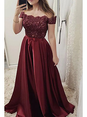 cheap Prom Dresses-A-Line Cut Out Red Engagement Prom Dress Off Shoulder Short Sleeve Sweep / Brush Train Lace Satin with Pleats Lace Insert 2020