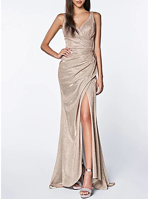 cheap Evening Dresses-Mermaid / Trumpet Sparkle Wedding Guest Prom Dress V Neck Sleeveless Sweep / Brush Train Polyester with Sequin Split 2020