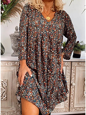 cheap Casual Dresses-Women's Shift Dress - 3/4 Length Sleeve Print V Neck Loose Royal Blue Light Blue S M L XL XXL XXXL