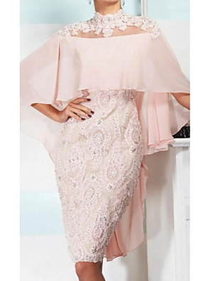 cheap Cocktail Dresses-Sheath / Column Mother of the Bride Dress Elegant Sexy High Neck Knee Length Chiffon Lace 3/4 Length Sleeve with Appliques 2020