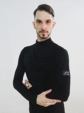 cheap Evening Dresses-Latin Dance Top Ruching Split Joint Men's Performance Long Sleeve Modal