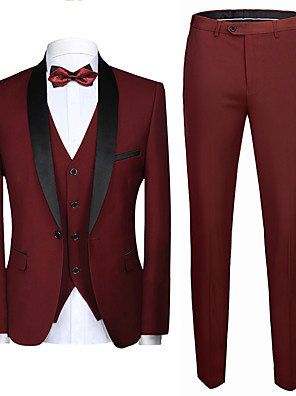 cheap Maxi Dresses-Tuxedos Tailored Fit Shawl Collar Single Breasted One-button Polyester Textured / Fashion