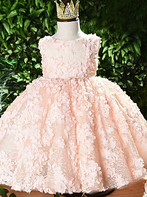 cheap Girls' Dresses-Ball Gown Short / Mini Event / Party / Birthday Flower Girl Dresses - Polyester Sleeveless Jewel Neck with Appliques