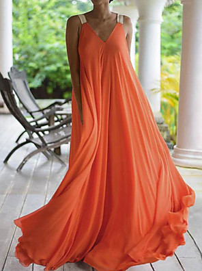 cheap Prom Dresses-Women's Maxi A Line Dress - Sleeveless Solid Color Summer Strap V Neck Holiday Vacation Beach Black Orange Navy Blue S M L